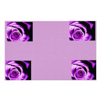 Purple rose stationery paper