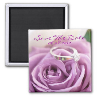 Purple Rose Summer Wedding Save The Date Refrigerator Magnets