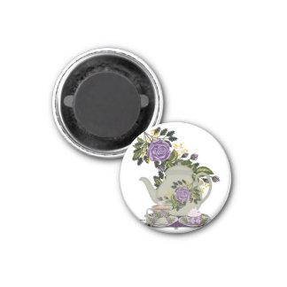 purple rose tea and cupcake magnet