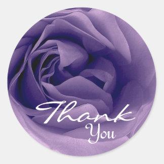 PURPLE Rose - Thank You Envelope Seal Round Sticker