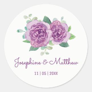 Purple Rose Watercolor Wedding Stickers