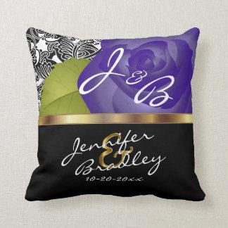 Purple Rose Wedding Design - Personalize Throw Pillow