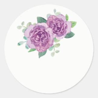 Purple Rose Wedding Favor Stickers