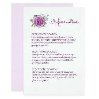 Purple Rose Wedding Information Cards