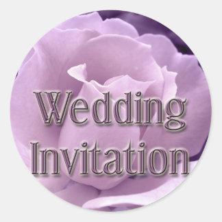 Purple Rose Wedding Invitation Round Sticker