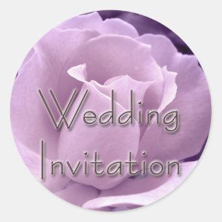Purple Rose Wedding Invitation Stickers