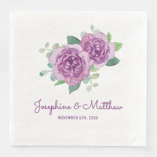 Purple Rose Wedding Paper Serviettes