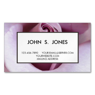 Purple Rose Wedding Photo Magnetic Business Cards