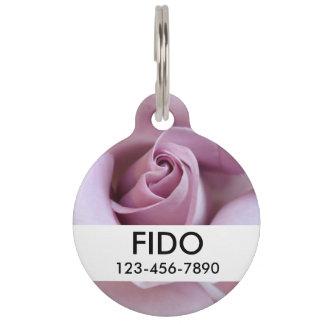 Purple Rose Wedding Photo Pet Tag