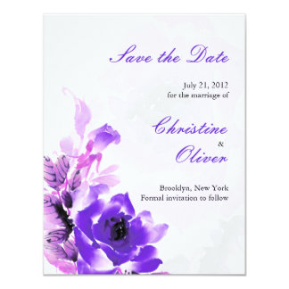 Purple Rose Wedding Save the Date Card 11 Cm X 14 Cm Invitation Card
