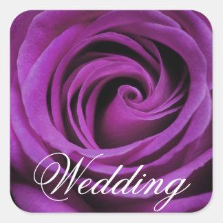 Purple Rose Wedding Square Sticker