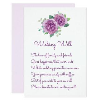 Purple Rose Wedding Wishing Well Cards