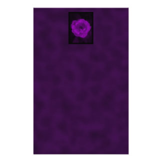 Purple Rose. With Black and Dark Purple. Stationery Paper