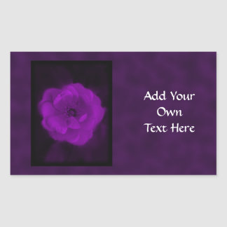 Purple Rose. With Black and Dark Purple. Rectangle Sticker