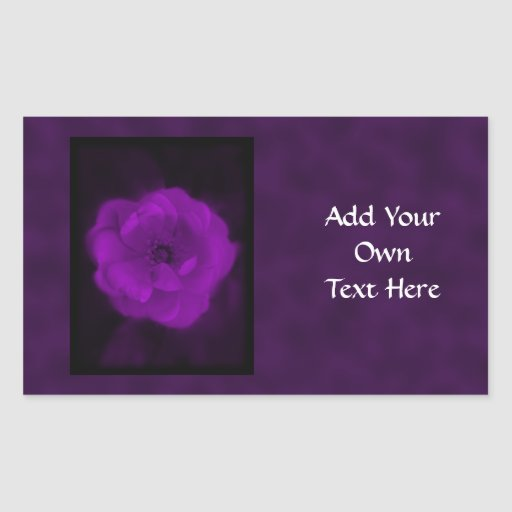 Purple Rose. With Black and Dark Purple. Rectangle Sticker