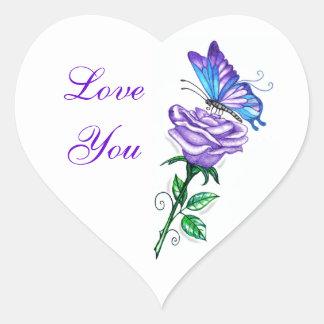 Purple Rose with Butterfly Heart Sticker