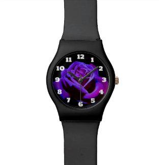Purple Rose With Dew Droplets on Black Background Wrist Watches