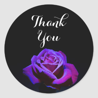 Purple Rose With Water Droplets Thank You Round Sticker