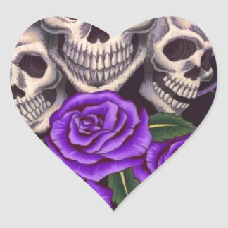Purple Roses and skulls Heart Sticker