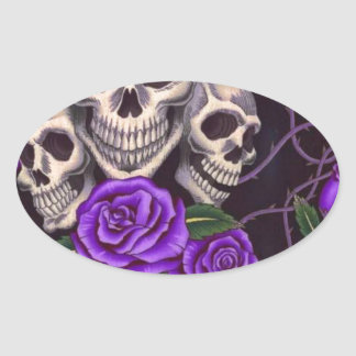 Purple Roses and skulls Oval Sticker