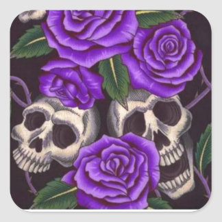 Purple Roses and skulls Square Sticker