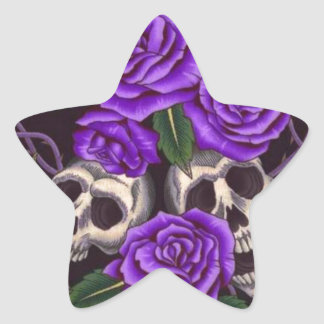 Purple Roses and skulls Star Sticker