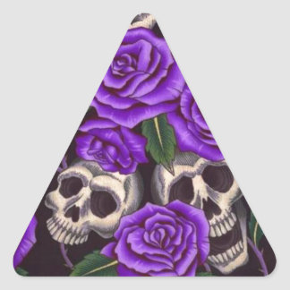 Purple Roses and skulls Triangle Sticker