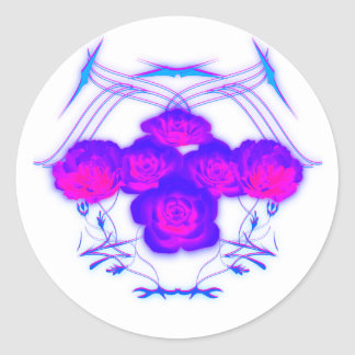 Purple Roses and Tribals Round Sticker