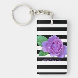 Purple Roses, Black, White Stripes Personalized Key Ring