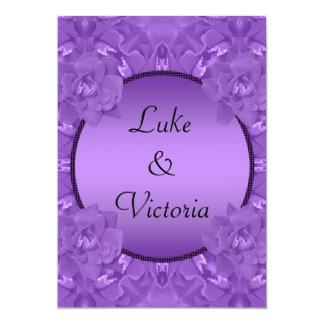 Purple Roses Collage Polka Dot Frame Wedding 13 Cm X 18 Cm Invitation Card