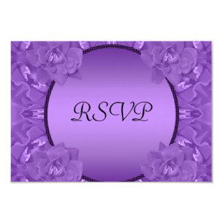 Purple Roses Collage Polka Dot Frame Wedding 9 Cm X 13 Cm Invitation Card