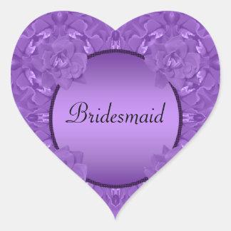 Purple Roses Collage Polka Dot Frame Wedding Heart Sticker