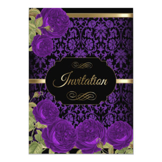 Purple Roses Damask Pattern | DIY Text 13 Cm X 18 Cm Invitation Card