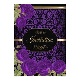 Purple Roses Damask Pattern | Invitations