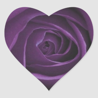 Purple Roses Design Heart Sticker
