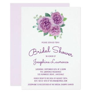 Purple Roses Floral Bridal Shower Invitations