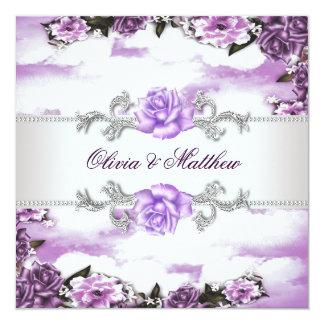 Purple Roses Lavender Purple White Cloud Wedding 13 Cm X 13 Cm Square Invitation Card