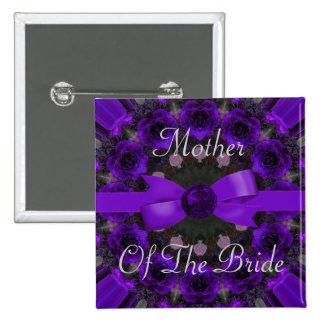 Purple Roses Mandala Wedding Pinback Buttons