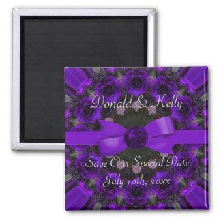 Purple Roses Mandala Wedding Refrigerator Magnets
