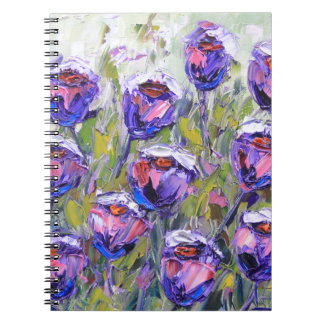 Purple Roses Painting, Spring Flowers, Pink Spiral Notebook