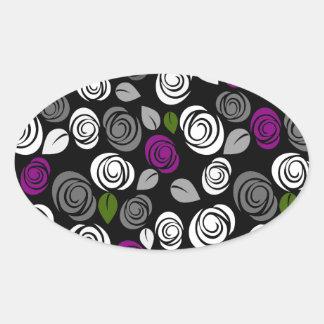 Purple roses pattern oval sticker