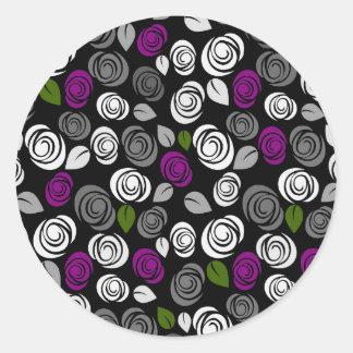 Purple roses pattern round sticker
