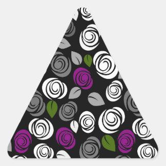 Purple roses pattern triangle sticker