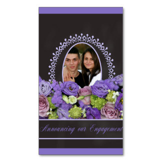 purple roses photo engagement announcement magnetic business cards