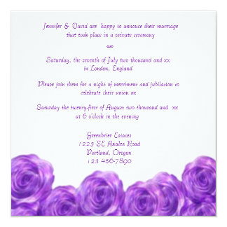 Purple Roses Post Wedding Reception Invitation