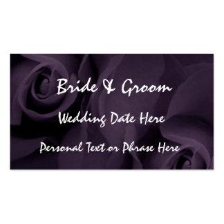 PURPLE Roses Reminder Insert - WEDDING Invitation Pack Of Standard Business Cards