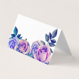 Purple roses seating card. Blue wedding floral Place Card