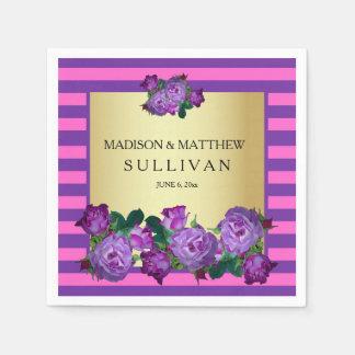 Purple Roses, Stripes Gold Personalized Wedding Disposable Serviettes