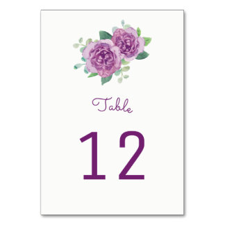 Purple Roses Table Number Cards