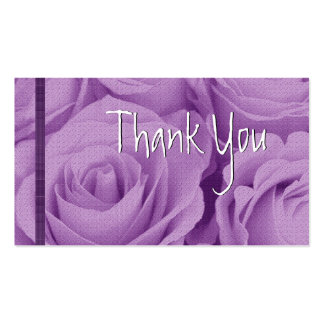 PURPLE Roses Thank You Wedding Card Pack Of Standard Business Cards